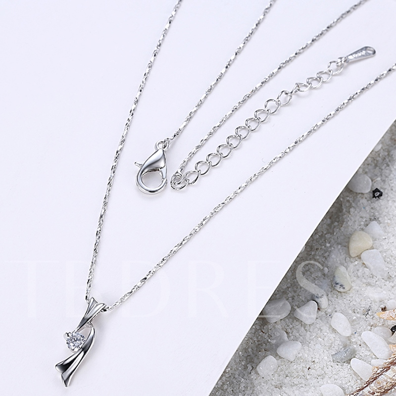 Zircon Embellished Alloy Plated Pendant Necklace