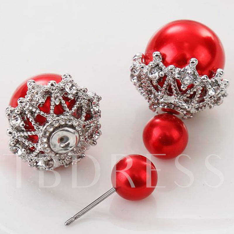 Double Pearls Design Diamante Earrings