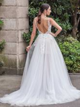 Designer Open Back V-Neck Appliques A-Line Court Train Bridal Gown