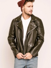 Notched Collar Casual Side Zipper Men's PU Jacket