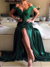 Split-Front Appliques Dark Green Evening Dress