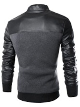 Patchwork Single Breasted PU Men's Jacket