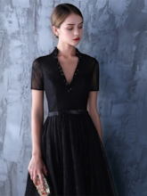Beaded Short Sleeves Lace Black Evening Dress