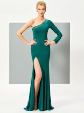 One-Shoulder Mermaid Beading Evening Dress