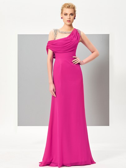 A-Line Cowl Beading Draped Evening Dress
