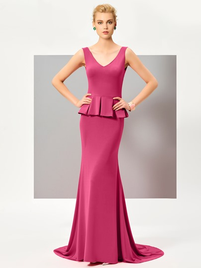 Mermaid V-Neck Ruffles Sweep Train Evening Dress