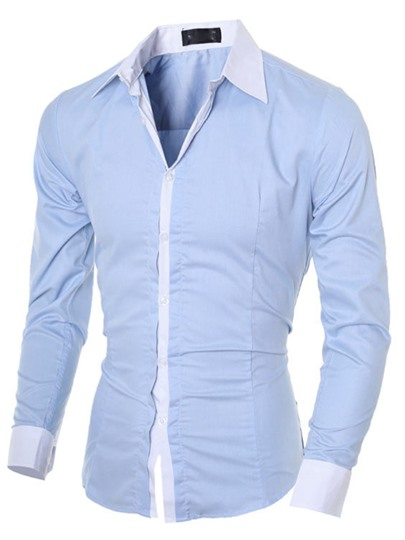 Lapel Contrast Color Long Sleeve Slim Men's Dress Shirt