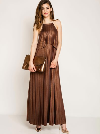 Royal Sleeveless Plain Pleated Women's Maxi Dress