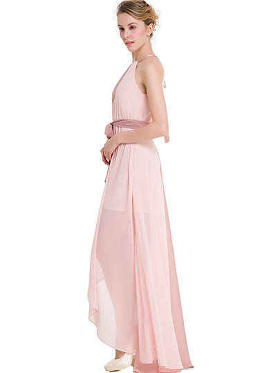 Color Block Asymmetrical Women's Maxi Dress