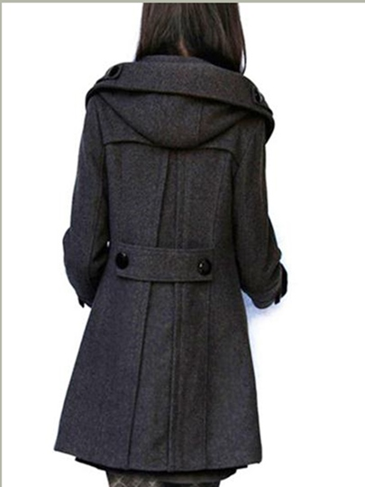 Plus Size A-line Double Breasted Woolen Hooded Women's Overcoat