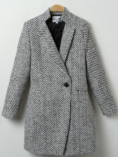 Solid Color One Button Lapel Women's Blazer