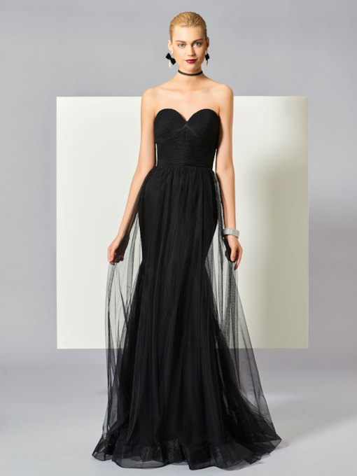 A-Line Sweetheart Sleeveless Floor-Length Evening Dress