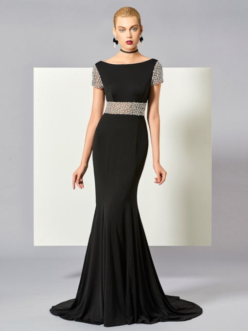 Bateau Neck Beading Short Sleeves Mermaid Evening Dress
