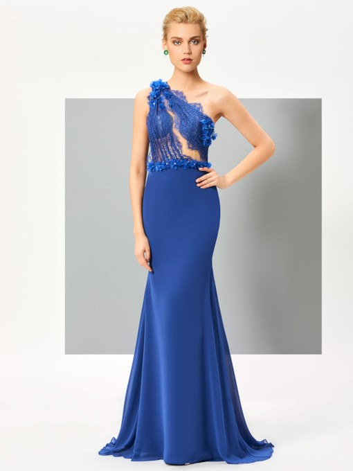 One-Shoulder Mermaid Appliques Beading Lace Evening Dress
