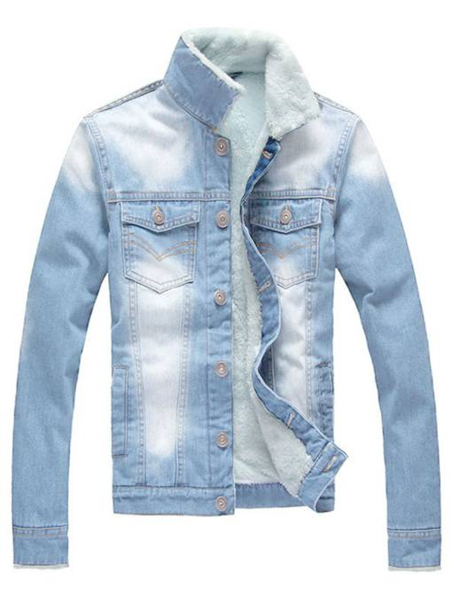 Lapel Thicken Warm Men's Denim Sherpa Lined Jacket