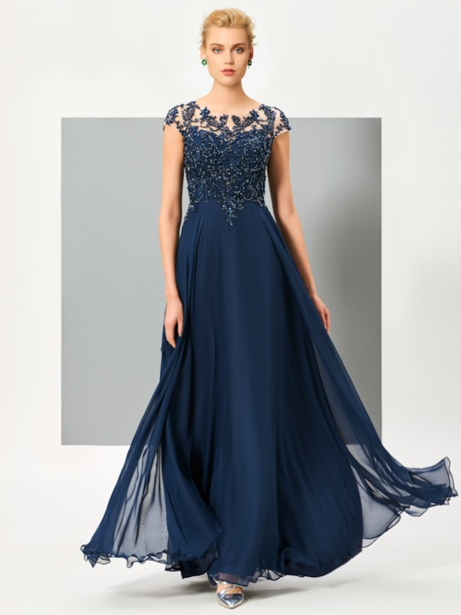 A-Line Scoop Appliques Button Lace Evening Dress