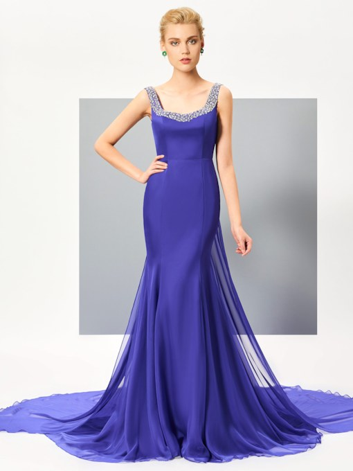 Column Straps Beading Watteau Train Evening Dress