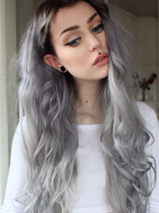 Fascinating Sexy Gray Long Wavy Lace Front Wig Synthetic Hair Halloween 24 Inches