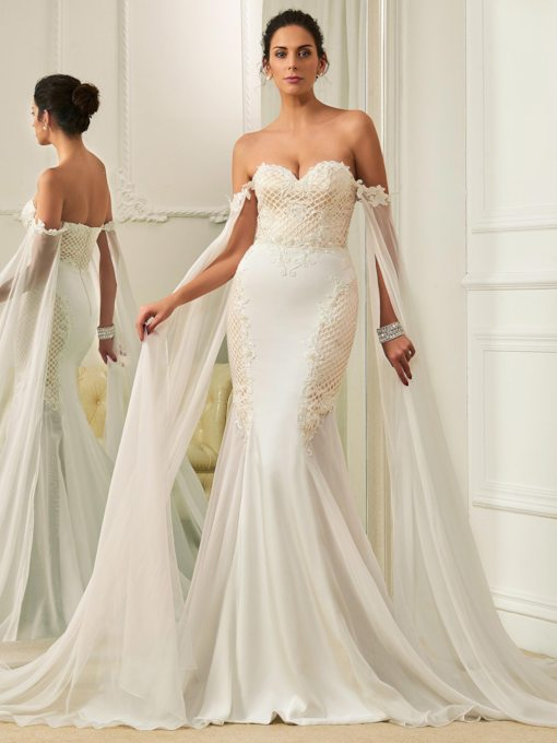 Sweetheart Beading Zipper-Up Mermaid Sweep Train Wedding Dress