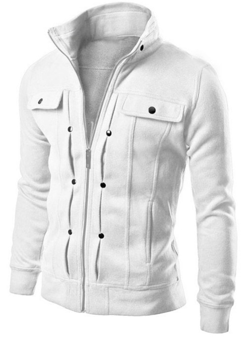 Stand Collar Zipper Solid Color Buttons Slim Fit Men's Jacket