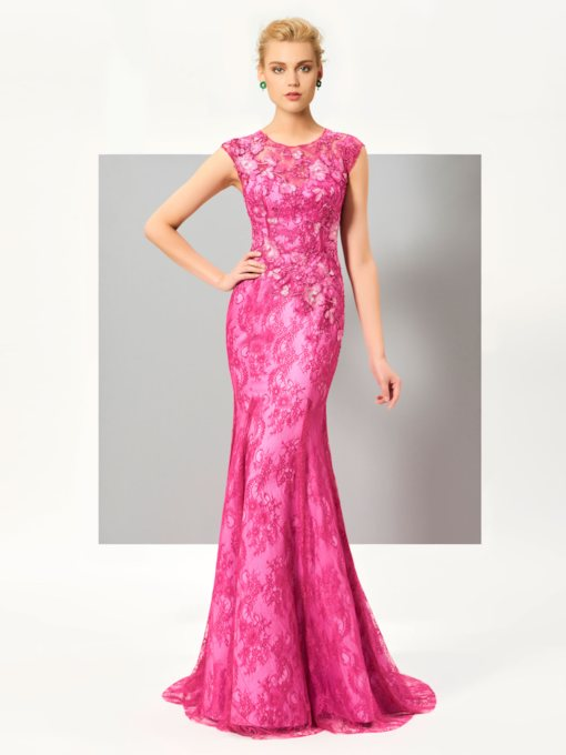 Jewel Mermaid Cap Sleeves Appliques Lace Sweep Train Evening Dress