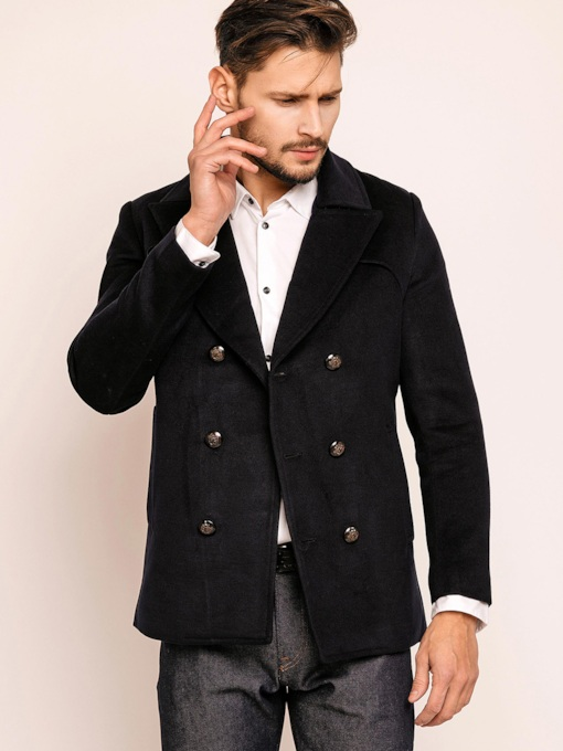 Notched Lapel Double-Breasted Men's Coats