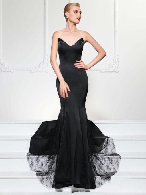 Lace Mermaid Beading Sweetheart Court Train Evening Dress