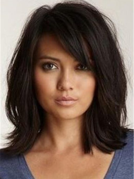 Women's Natural Looking Middle Length Wavy Style Capless Wigs Synthetic Hair Wigs 14Inches