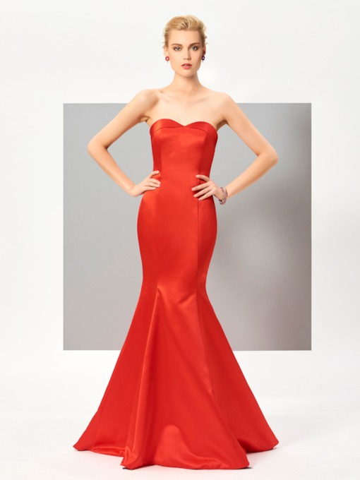 Strapless Mermaid Short Sleeves Sweep Train Evening Dress