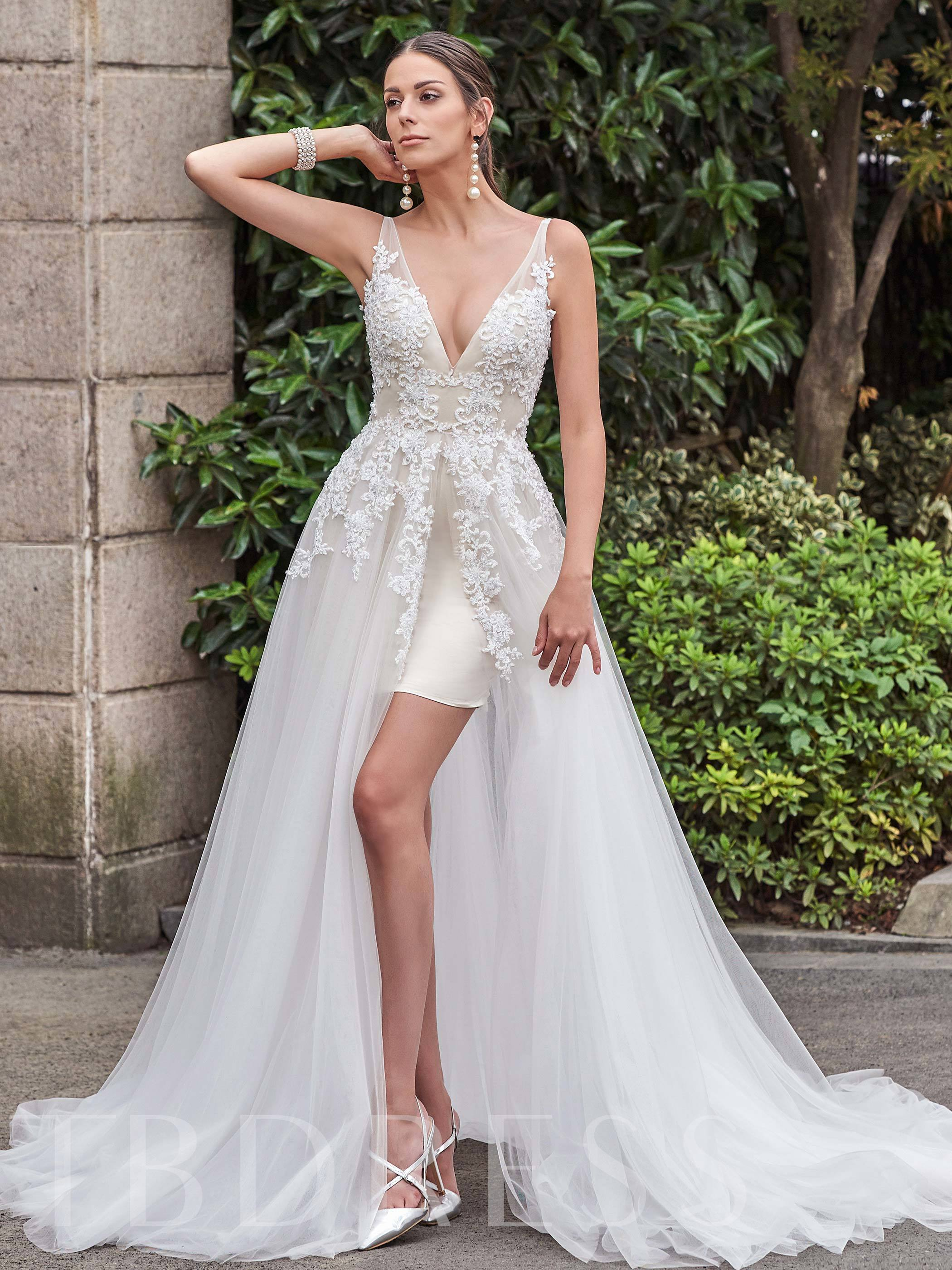 Designer Open Back V-Neck Appliques A-Line Court Train Bridal Gown 12742417