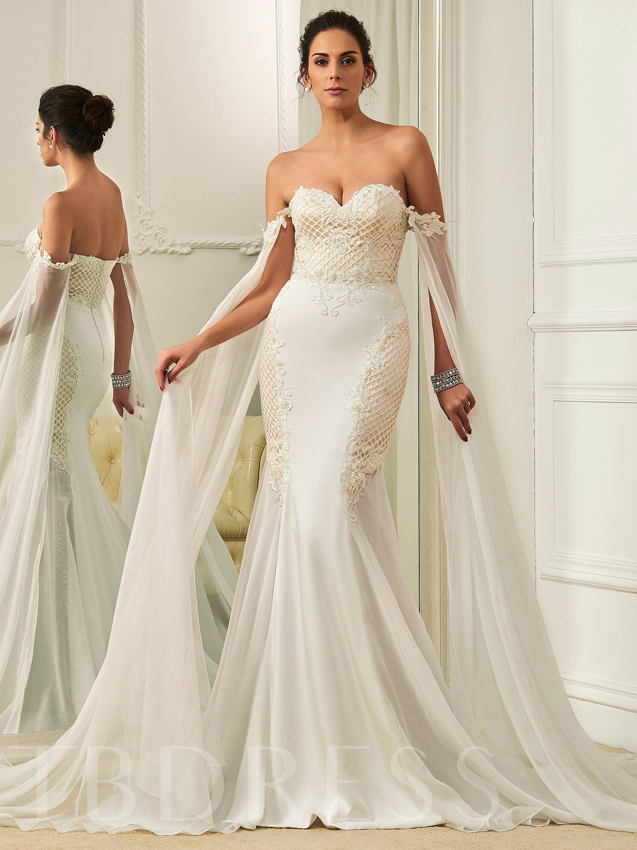Sweetheart Beading Zipper-Up Mermaid Sweep Train Wedding Dress 12740445