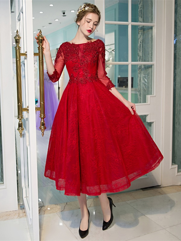 Appliques Beading Tea-Length Red Prom Dress with Sleeves