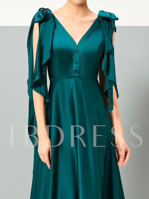 A-Line V-Neck Bowknot Button Evening Dress