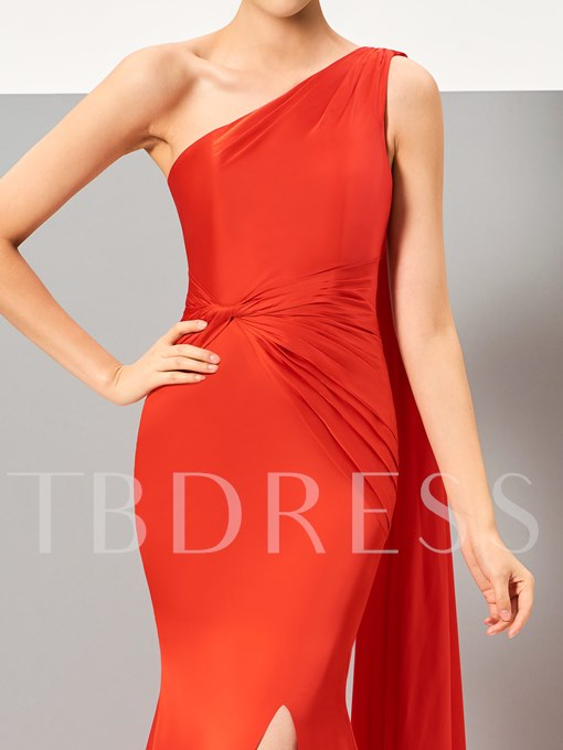 One-Shoulder Ruched Split-Front Sweep Train Evening Dress
