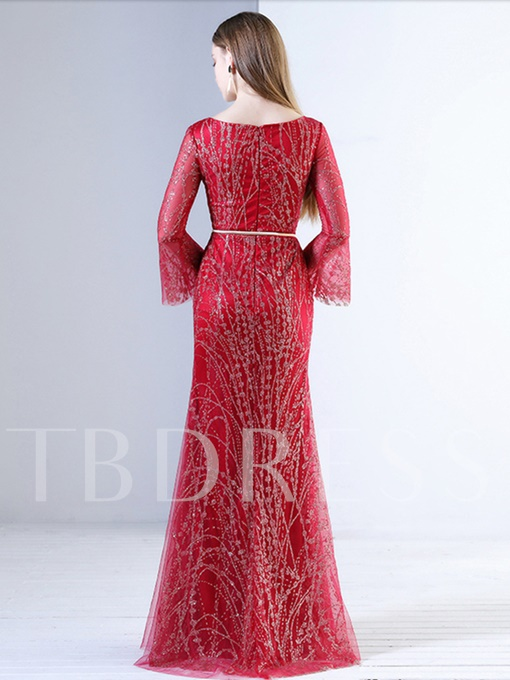 A-Line Bateau Beading Sashes Floor-Length Evening Dress