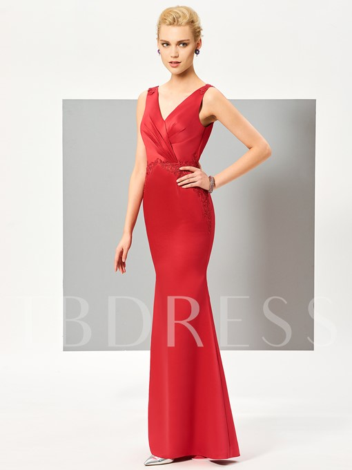 Mermaid V-Neck Ruched APPliques Floor-Length Evening Dress