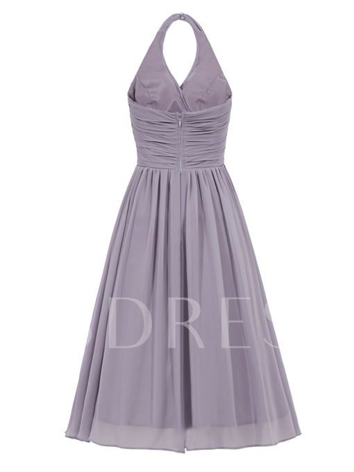 A-Line Halter Draped Ruched Knee-Length Cocktail Dress