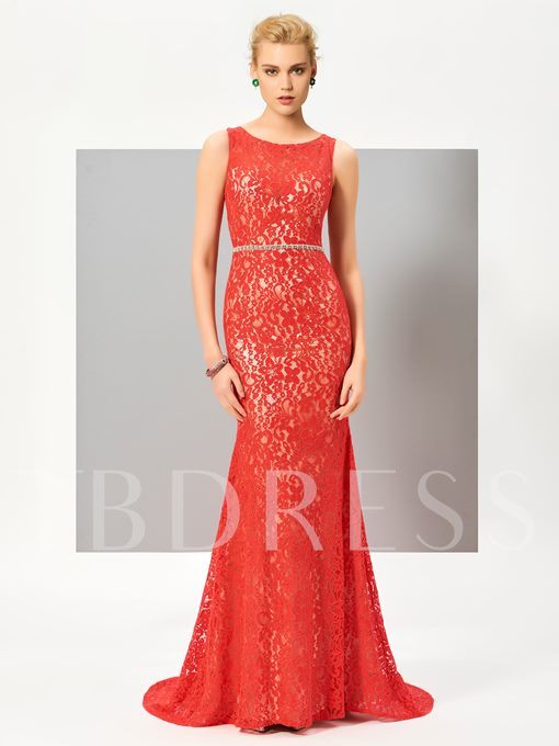 Sheath Scoop Beading Lace Sashes Sweep Train Evening Dress