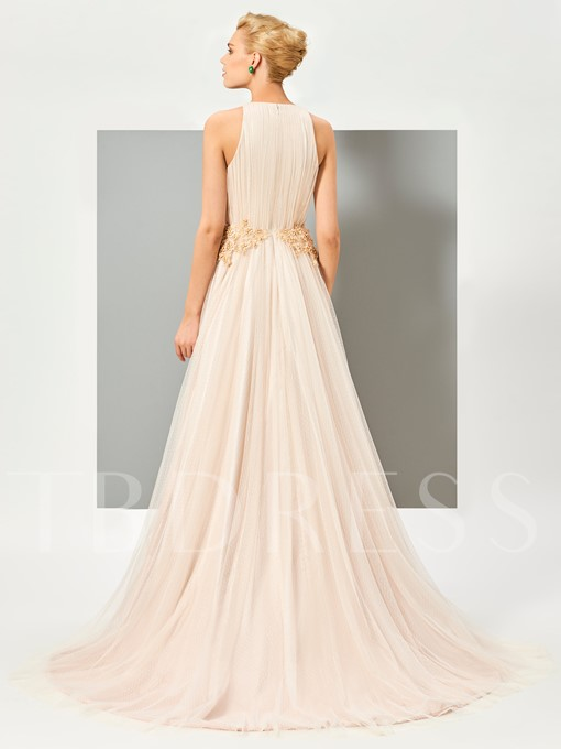 A-Line V-Neck Beading Ruched Court Train Evening Dress