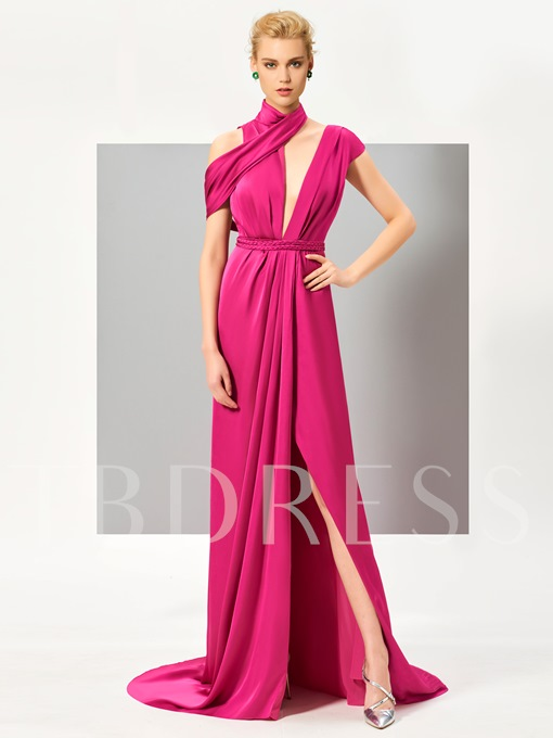 A-Line High Neck Sashes Split-Front Sweep Train Evening Dress
