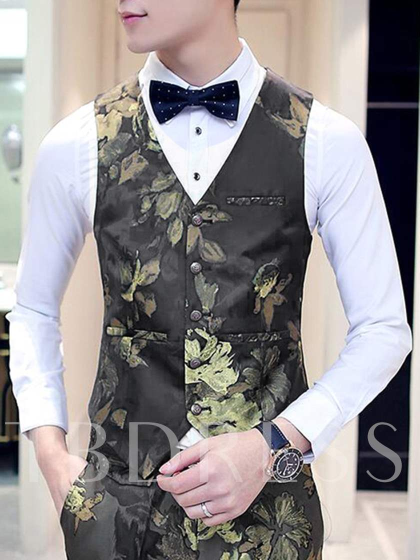 Men's Suits with Large Flower Printed