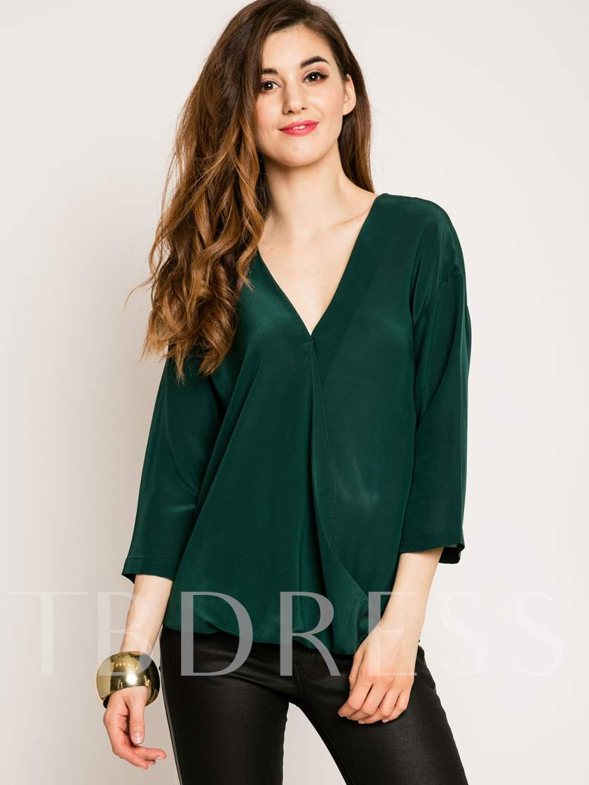 Plain Hidden Button V-Neck Women's Blouse
