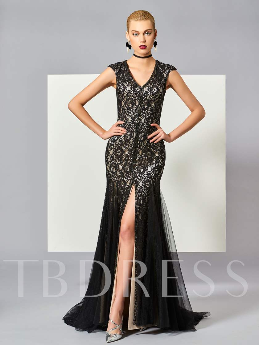 Mermaid V-Neck Cap Sleeves Lace Split-Front Court Train Evening Dress