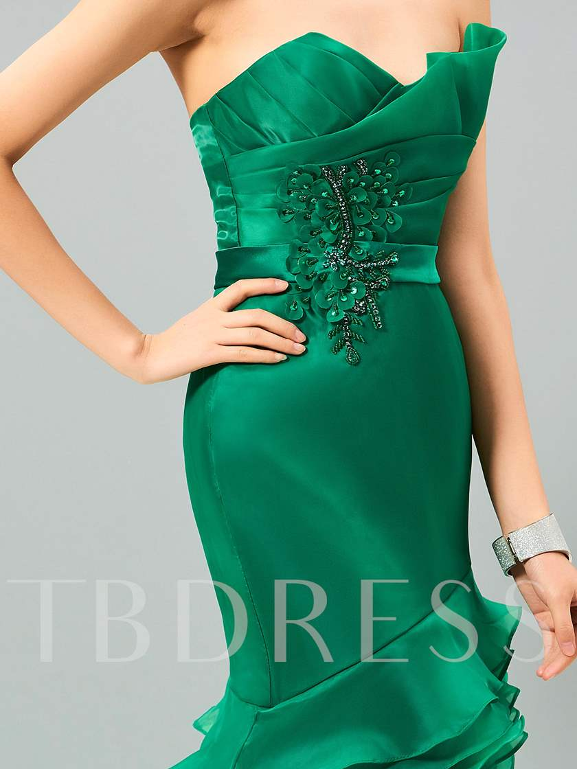 Mermaid Sweetheart Beading Sequins Tiered Sweep Train Evening Dress