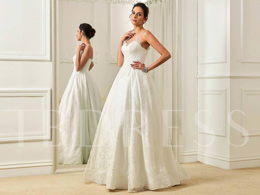Sheer Scoop Neck Wedding Dress With Lace