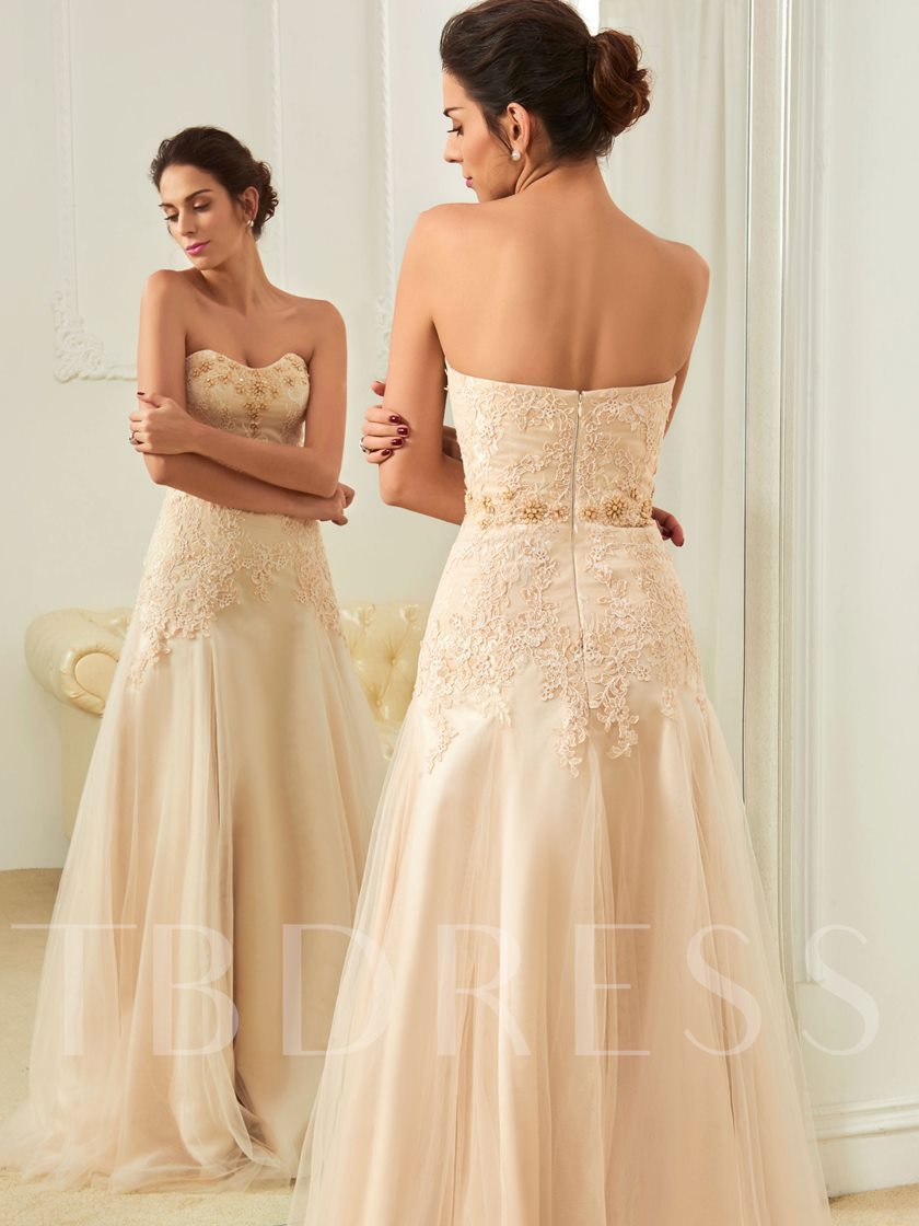 Sweetheart Zipper-Up With Lace Beading A-Line Wedding Dress