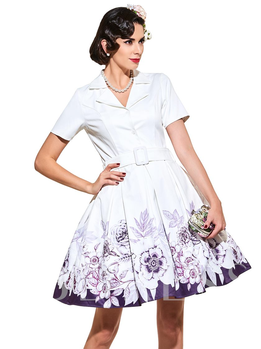 V-Neck Flotal Vintage Standard-Waist Women's Day Dress