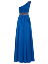 One-Shoulder Pleated Chiffon Beading A-Line Evening Dress