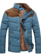 Stand Collar Patchwork Slim Fit Men's Down Jacket