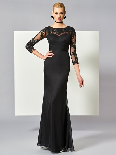 Scoop Sheath Appliques Floor-Length Evening Dress